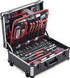 Meister Werkzeugtrolley 156-teilig - Werkzeug-Set - Mit Rollen - Teleskophandgriff / Profi Werkzeugkoffer befüllt / Werkzeugkiste fahrbar auf Rollen...